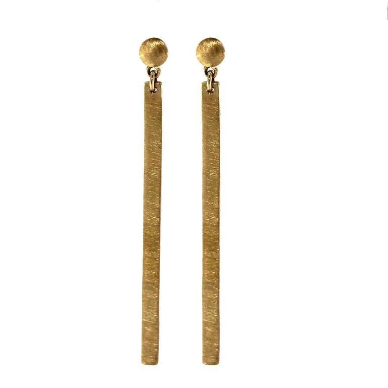 Jona 18k Satin Brushed Yellow Gold Bar Pendant Earrings
