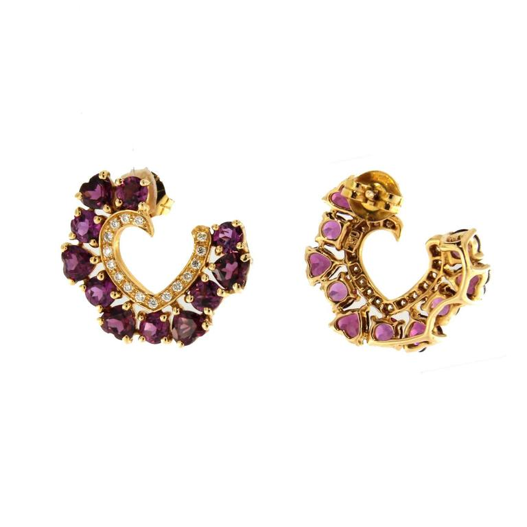 Jona Rhodolite White Diamond 18 Karat Gold Open Heart Stud Earrings In New Condition For Sale In Torino, IT