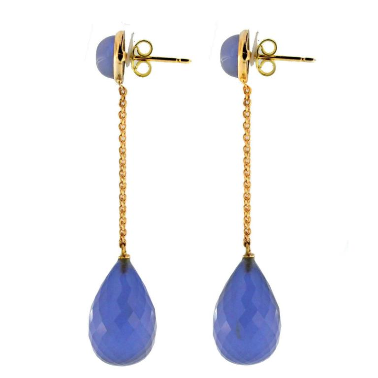 Jona Namibia Chalcedony 18 Karat Rose Gold Dangle Earrings In New Condition For Sale In Torino, IT