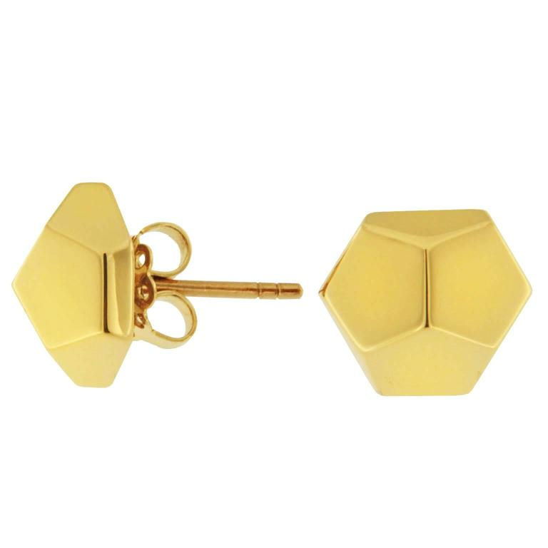 Jona Yellow Gold Prism Stud Earrings In As new Condition For Sale In Torino, IT