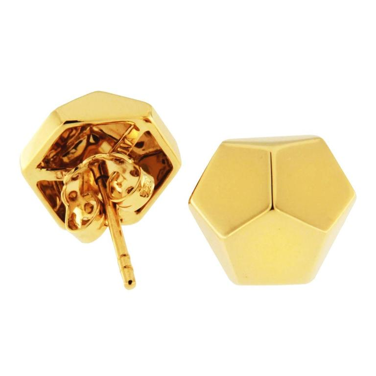 Women's Jona Yellow Gold Prism Stud Earrings For Sale