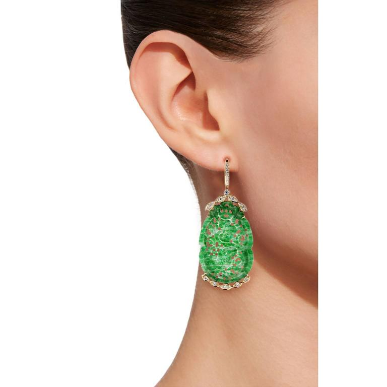 Jona Jade Diamond Gold Earrings In As new Condition For Sale In Torino, IT