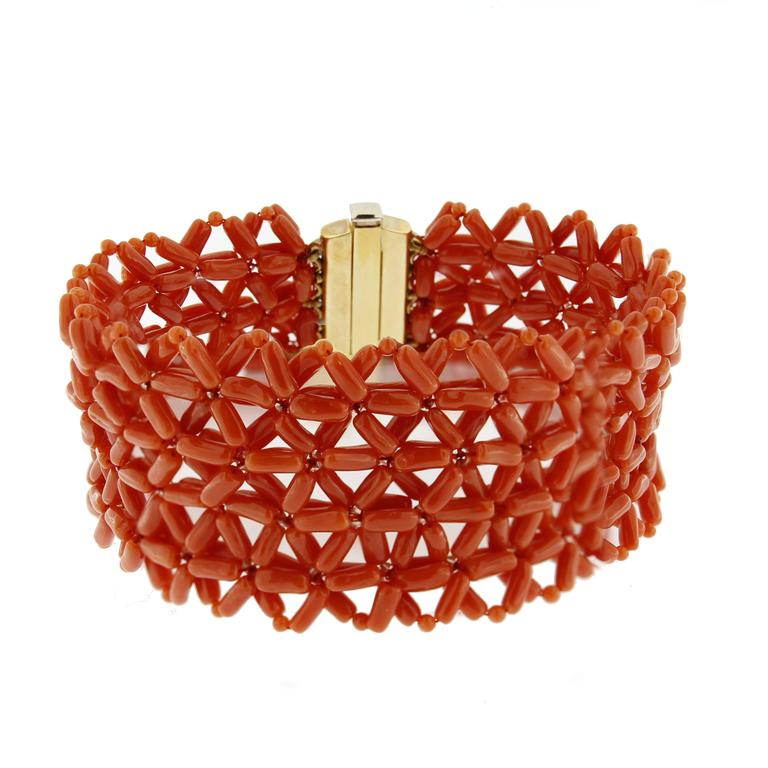 Women's Jona Coral Yellow Gold Cuff Bracelet For Sale