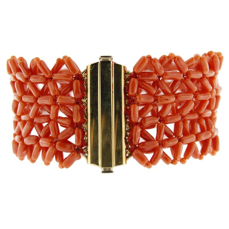 Jona Coral Yellow Gold Cuff Bracelet For Sale 1