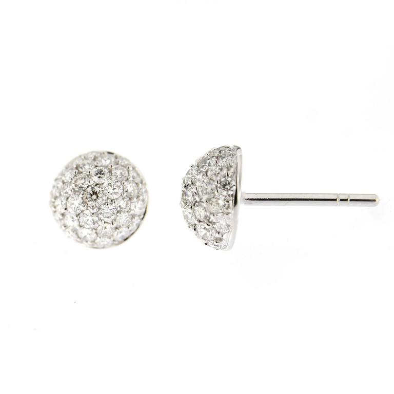 Jona Diamond Pavé Gold Semisphere Stud Earrings In As new Condition For Sale In Torino, IT