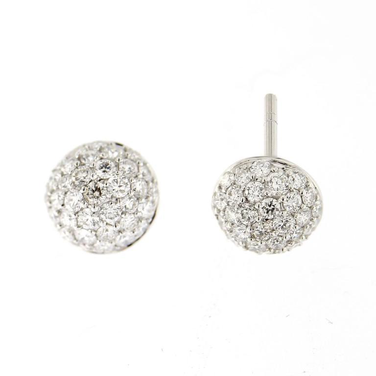 Women's Jona White Diamond Pavé 18 Karat White Gold Semi Sphere Stud Earrings For Sale