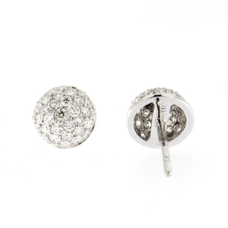 Jona White Diamond Pavé 18 Karat White Gold Semi Sphere Stud Earrings For Sale 1