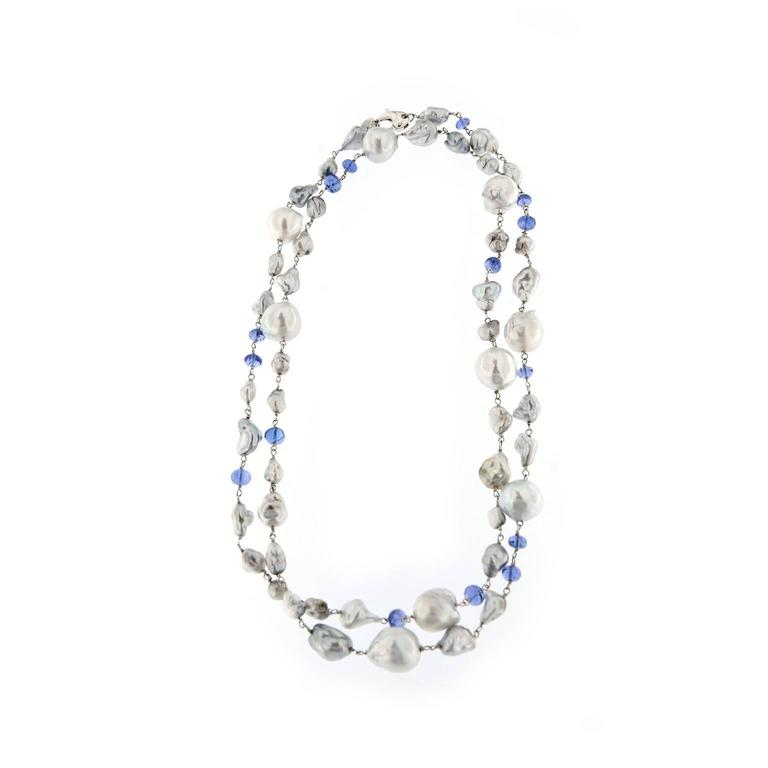 Jona Grey Keshi South Sea and Tanzanite White Gold Long Necklace For Sale 4