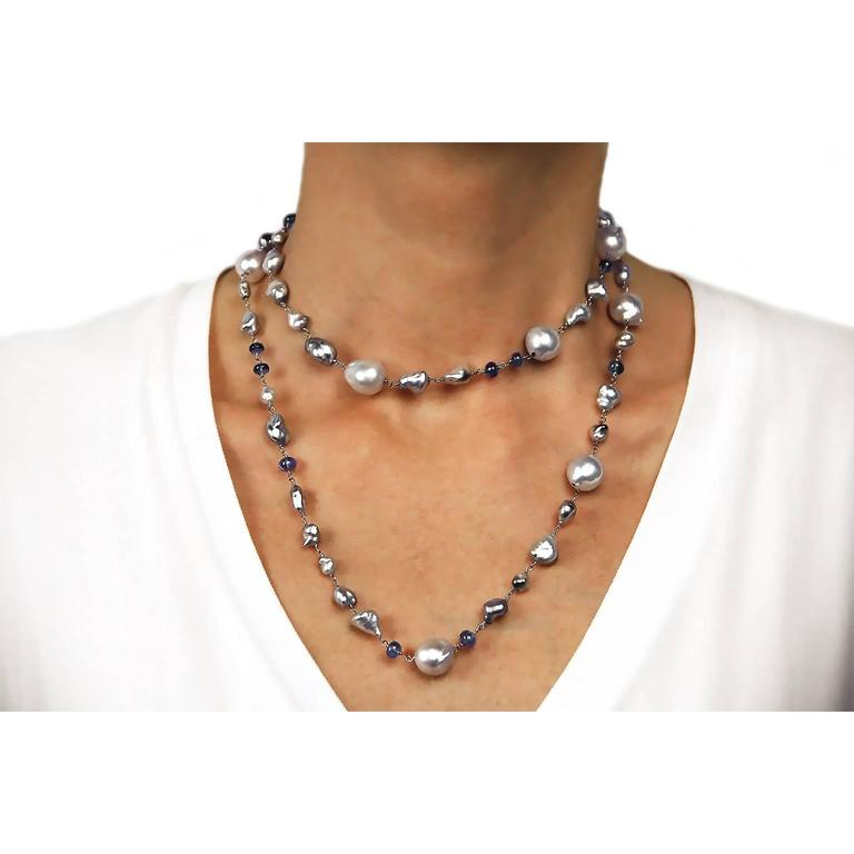 Jona Grey Keshi South Sea and Tanzanite White Gold Long Necklace For Sale 2