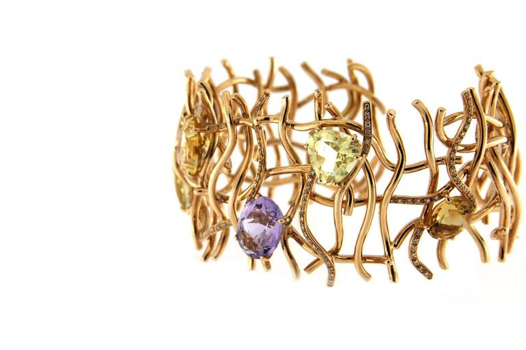 Contemporary Jona Citrine Amethyst Diamond Grid 18Karat Rose Gold One-of-a-Kind Cuff Bracelet For Sale