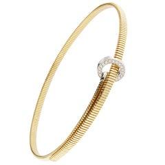 Jona White Diamond 18 Karat Yellow Gold Tubogas Belt Choker Necklace