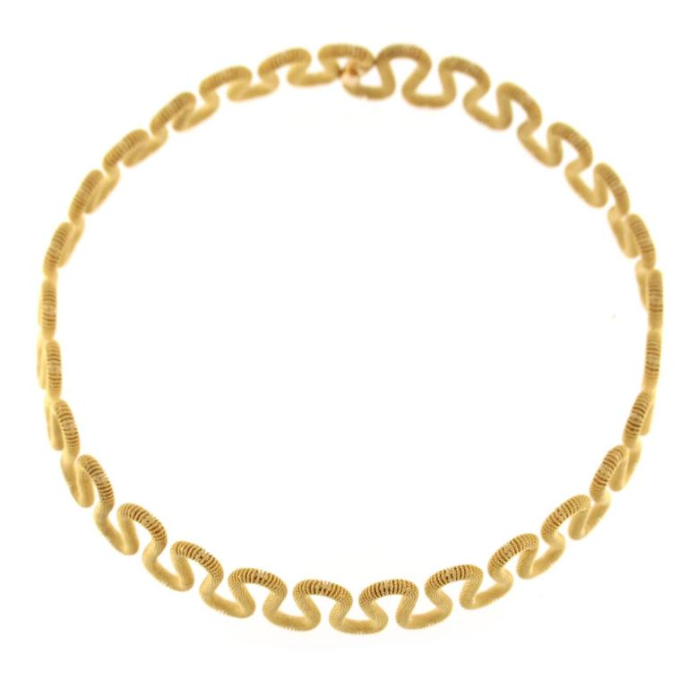 Jona 18k Yellow Gold Twisted Wire Flexible Choker Necklace For Sale ...