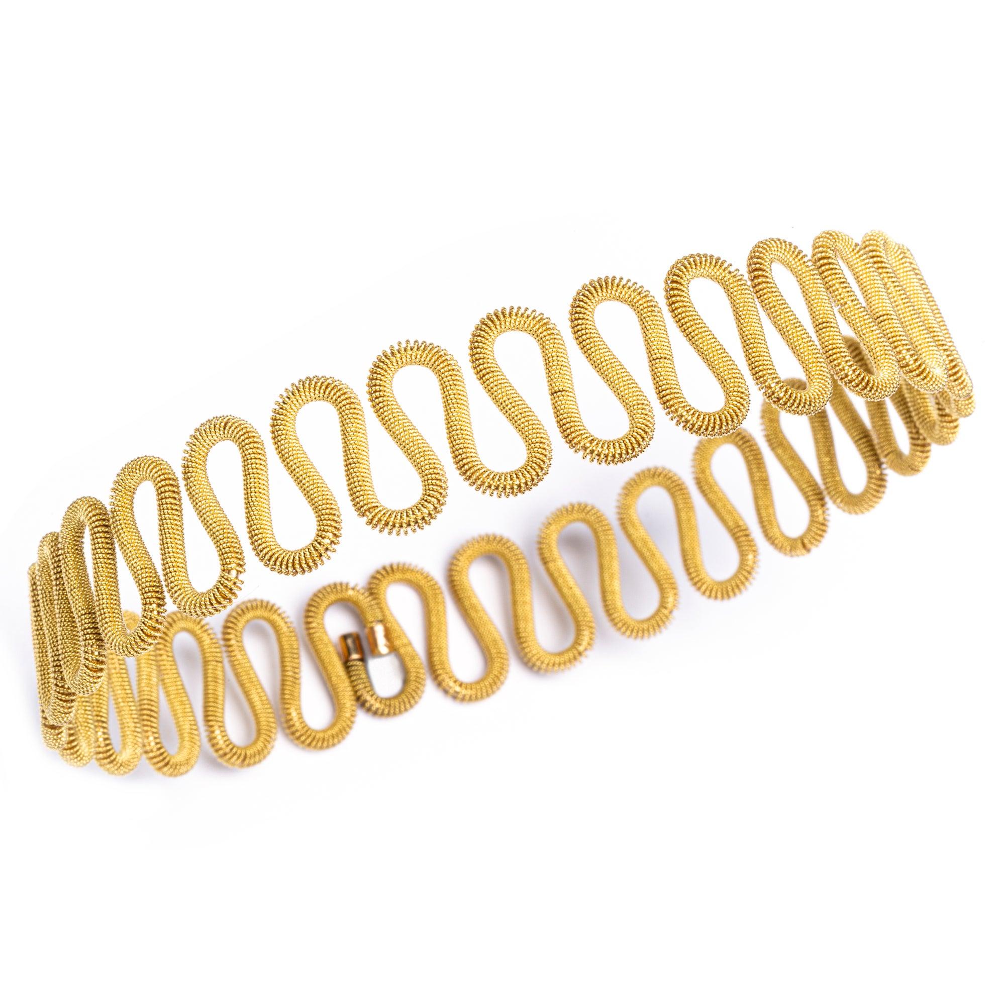 Alex Jona 18k Yellow Gold Twisted Wire Flexible Choker Necklace