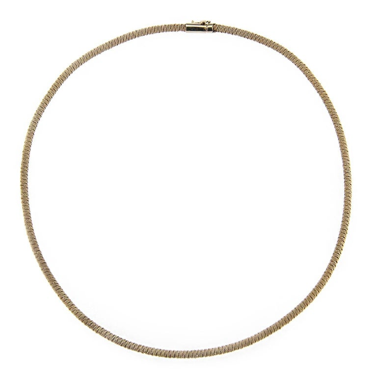 Jona White Gold Twisted Wire Choker Necklace For Sale