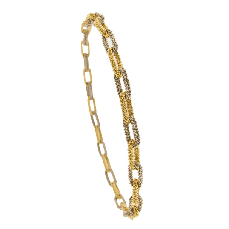 Jona design collection, hand crafted in Italy, two tone woven white and yellow 18 karat gold link chain.