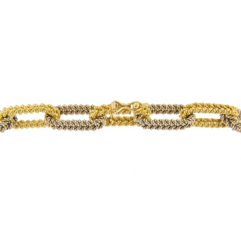 Jona Two Color Gold Link Chain Necklace In New Condition For Sale In Torino, IT