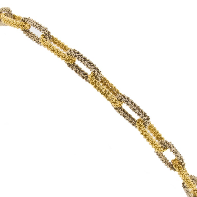 Contemporary Jona Two Color Gold Link Chain Necklace For Sale