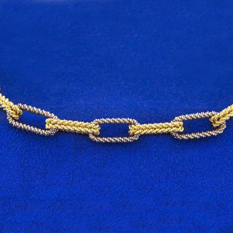 Jona Two Color Gold Link Chain Necklace For Sale 1