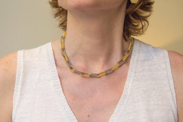 Jona Two Color Gold Link Chain Necklace For Sale 2