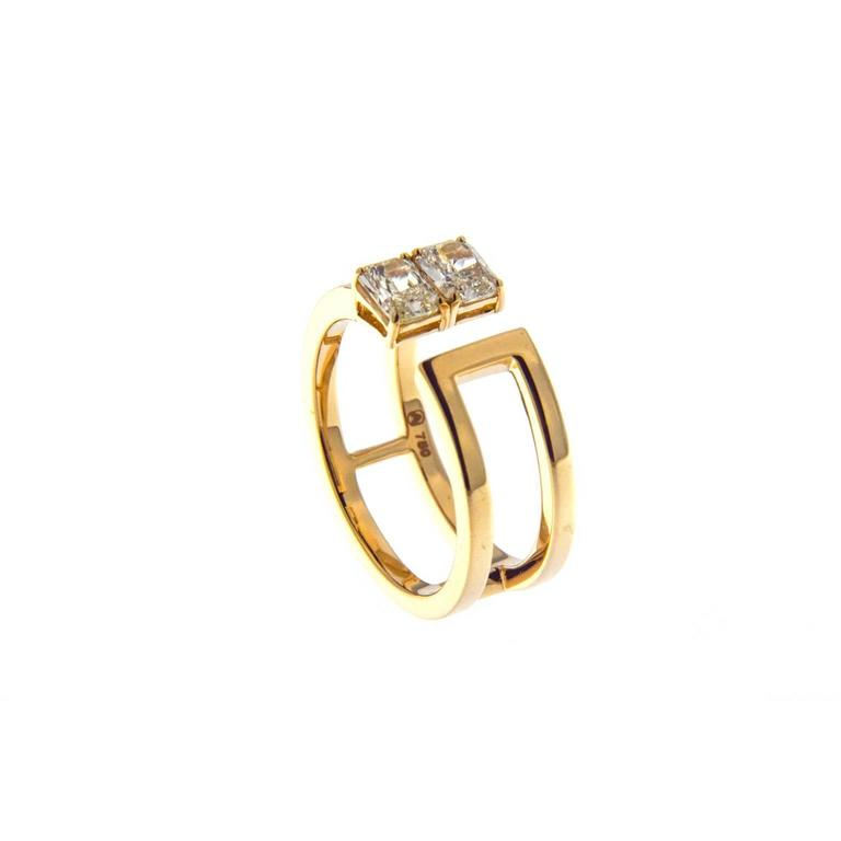 Jona Yellow Radiant Cut Diamond 18 Karat Yellow Gold Band Ring In New Condition For Sale In Torino, IT
