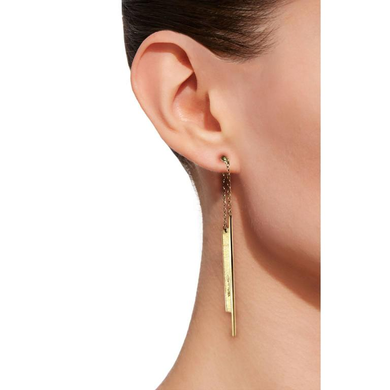Jona design collection, hand crafted in Italy, 18 karat brushed and polished yellow gold dangling bar ear pendants.   All Jona jewelry is new and has never been previously owned or worn. Each item will arrive at your door beautifully gift wrapped in