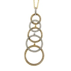 Jona White Diamond 18 Karat Yellow and White Gold Pendant Necklace