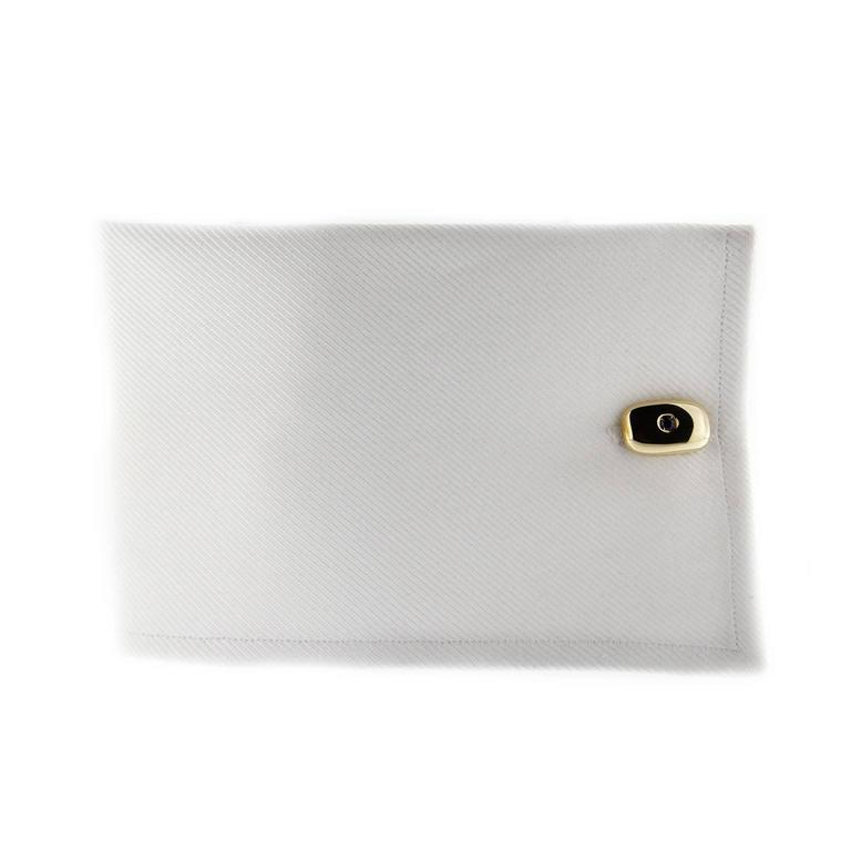 Jona design collection, hand crafted in Italy, 18 karat yellow gold cufflinks set with blue sapphires weighing 0.58 carats.  All Jona jewelry is new and has never been previously owned or worn. Each item will arrive at your door beautifully gift