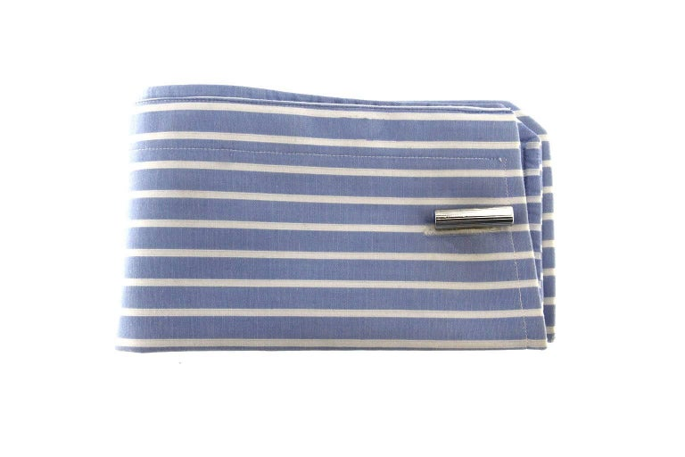 Jona design collection, hand crafted in Italy, Rhodium plated Sterling Silver and Lapis bar cufflinks. Marked