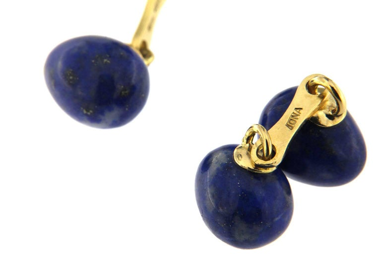 Jona Lapis Lazuli Egg Shape 18 Karat Yellow Gold Cufflinks In New Condition For Sale In Torino, IT