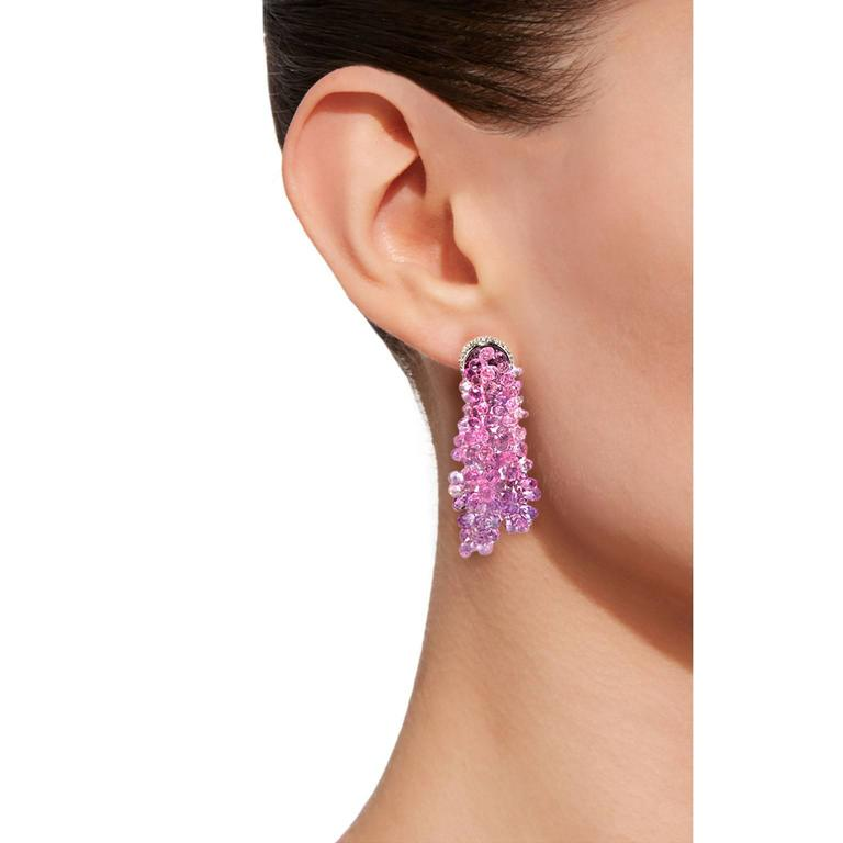 Jona one-of-a-kind design, hand crafted in Italy, pair of pendant earrings presenting clusters of briolette cut graduated pink sapphires for a total weight of 61.85 carats, sustained by a fine 18 karat white gold mounting set with 1.52 carats of