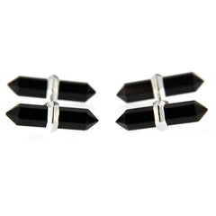 Jona Onyx 18 Karat White Gold Prism Bar Cufflinks