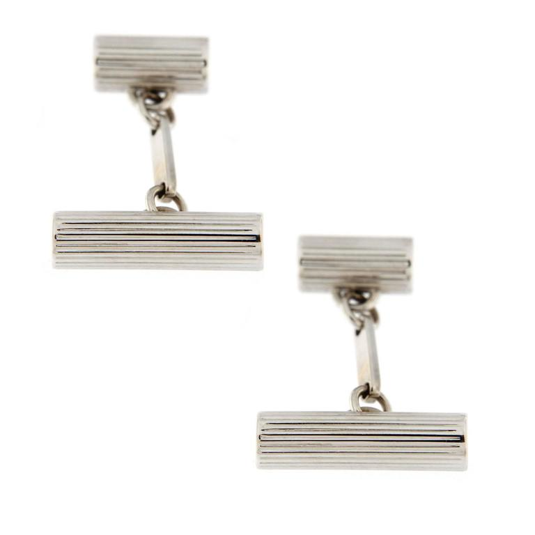 Jona 18k White Gold Engraved Cylinder Cufflinks