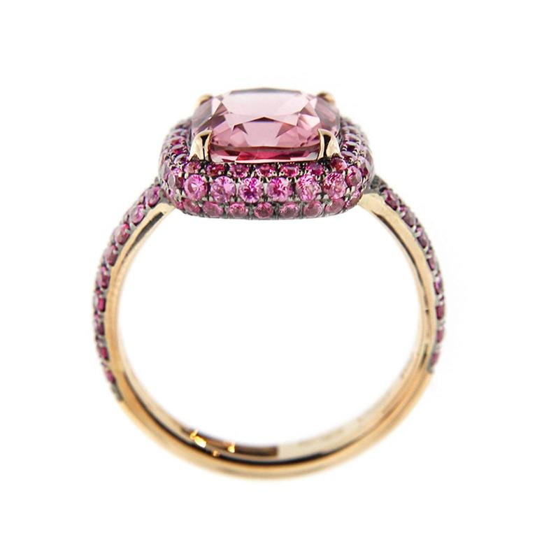 Jona Pink Spinel Pink Sapphire 18 Karat Rose Gold Ring In New Condition For Sale In Torino, IT