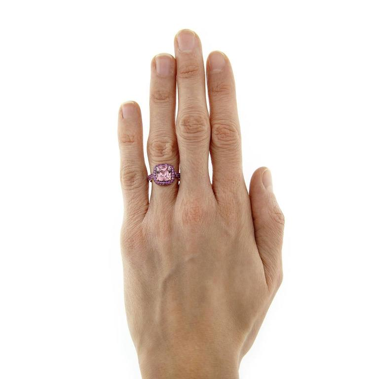 Jona one-of-a-kind collection, designed and hand crafted in Italy, 18 Karat rose gold ring, centering a cushion cut pink Spinel weighing 3.10 carats, surrounded by a pink Sapphire Pavé weighing 1.84 carats. Signed Jona.  Ring Size: US 6 (can be