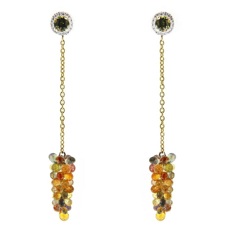 Jona Multi-Color Sapphire Diamond Tourmaline Gold Pendant Earrings