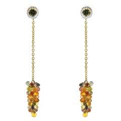 Jona Multi-Color Sapphire White Diamond Tourmaline Gold Pendant Earrings