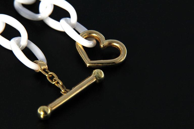 Jona High-Tech White Ceramic Gold Chain Bracelet 2