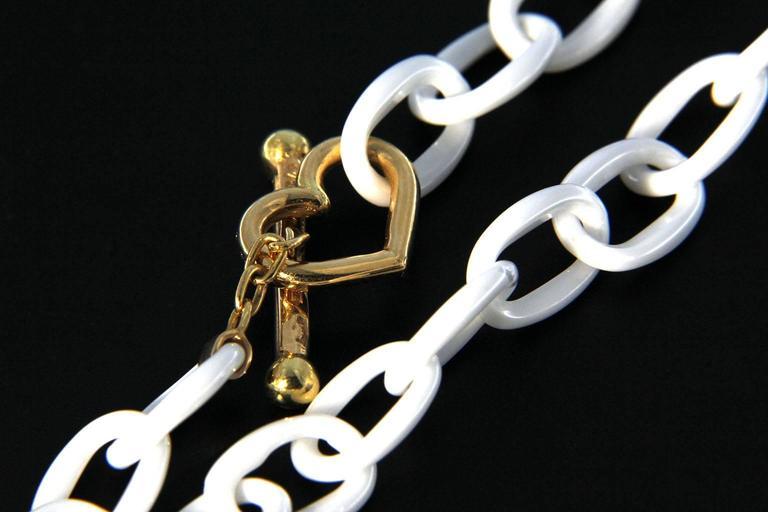 Jona High-Tech White Ceramic Gold Chain Bracelet For Sale 1