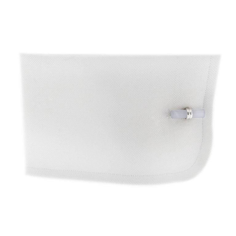 Jona Rock Crystal Cylinder Sterling Silver Cufflinks In As New Condition For Sale In Torino, IT
