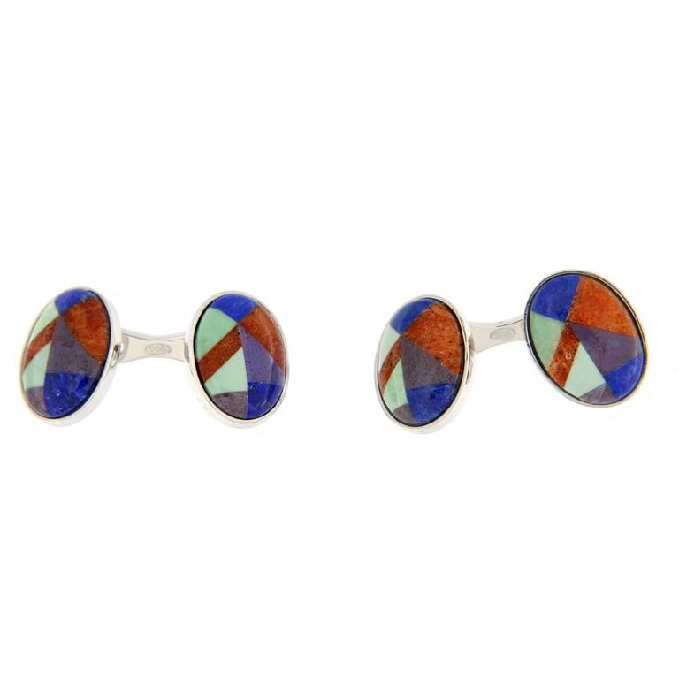 Jona design collection, crafted in Italy, rhodium plated sterling silver modernist Lapis Lazuli, Carnelian, Chrysoprase and Agate cufflinks. Marked Jona 925.   All Jona jewelry is new and has never been previously owned or worn. Each item will