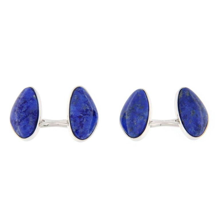 Jona design collection lapis lazuli cufflinks mounted in 925/°°° sterling silver Rhodium Plate. Marked JONA 925.  All Jona jewelry is new and has never been previously owned or worn. Each item will arrive at your door beautifully gift wrapped in