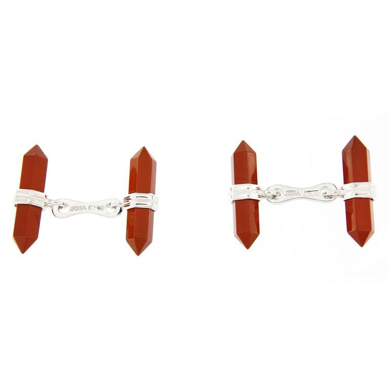 Jona design collection, hand crafted in Italy, Red Jasper prism bar cufflinks mounted in rhodium plate sterling silver. The silver cufflinks are