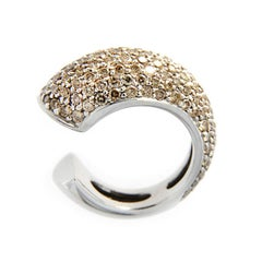 Jona Cognac Diamond Pavé 18k White Gold Pinky Dome Ring