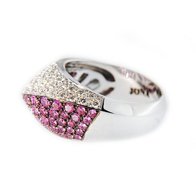 Women's Jona Pink Sapphire and White Diamond Pave 18k White Gold Dome Ring For Sale
