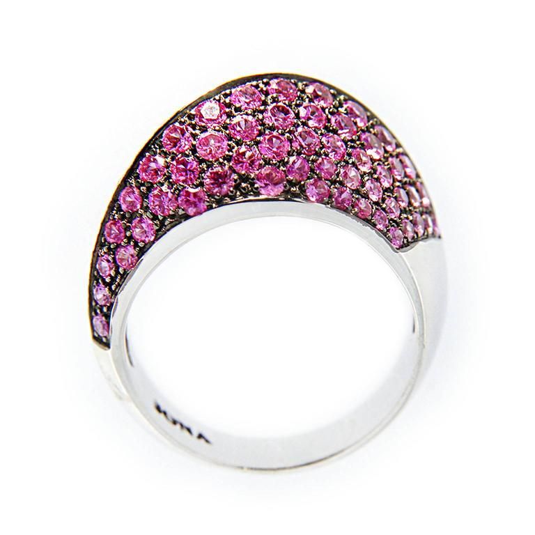 Jona Pink Sapphire and White Diamond Pave 18k White Gold Dome Ring For Sale 1