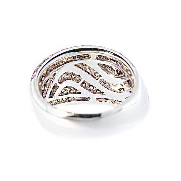 Jona Pink Sapphire Diamond Pave Gold Dome Ring 6