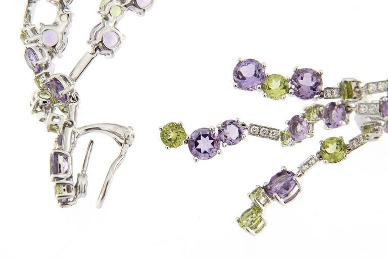 Jona Peridot Amethyst Diamond White Gold Chandelier Earrings In As New Condition For Sale In Torino, IT