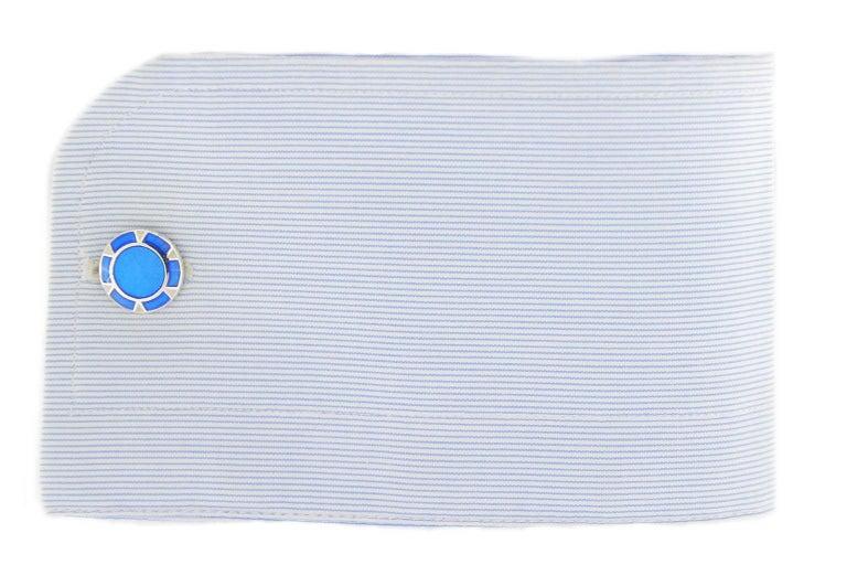 Jona Blue Enamel Sterling Silver Cufflinks 2