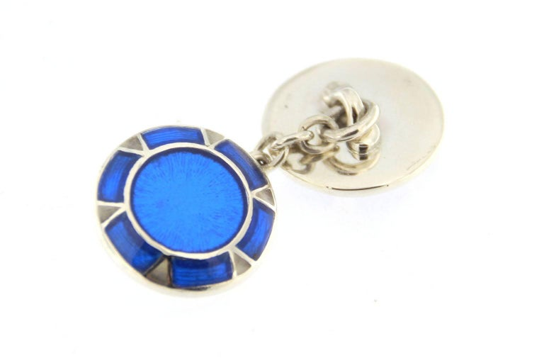 Jona Blue Enamel Sterling Silver Cufflinks 3