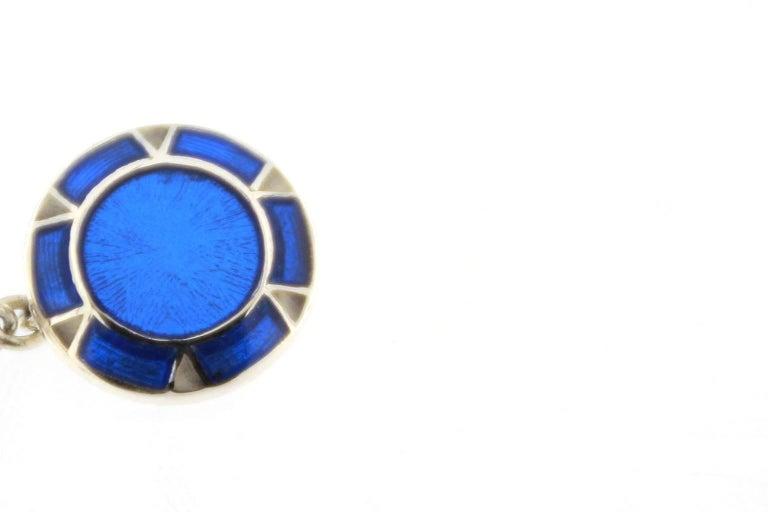 Jona Blue Enamel Sterling Silver Cufflinks 4